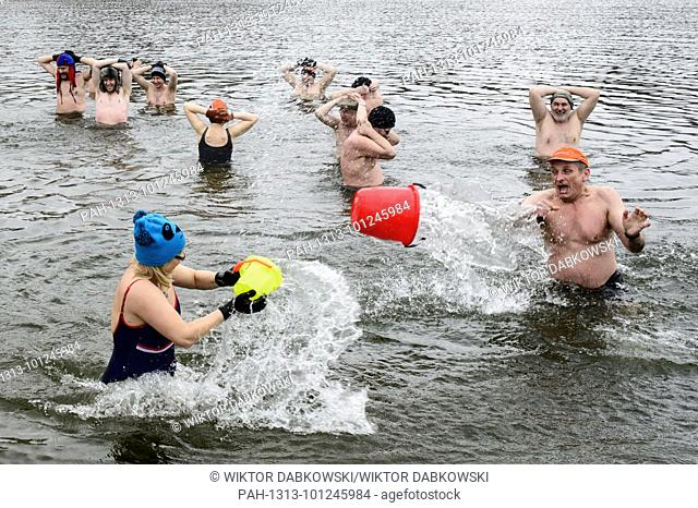 Smigus Dyngus or 'Wet Monday', Polish tradition of throwing water on each other during Easter Monday organized by Winter swimming group, Plockie Morsy in Plock