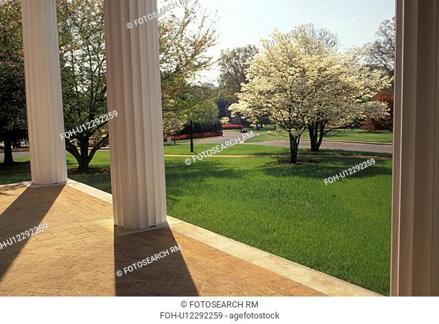 columns, Governor's Mansion, Atlanta, Georgia, GA, Front porch of the Governor's Mansion in the spring in Atlanta