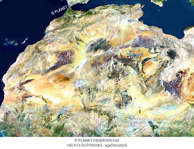 Sahara Desert, Africa, True Colour Satellite Image. Sahara desert, true colour satellite image. The Sahara is the world's largest hot desert