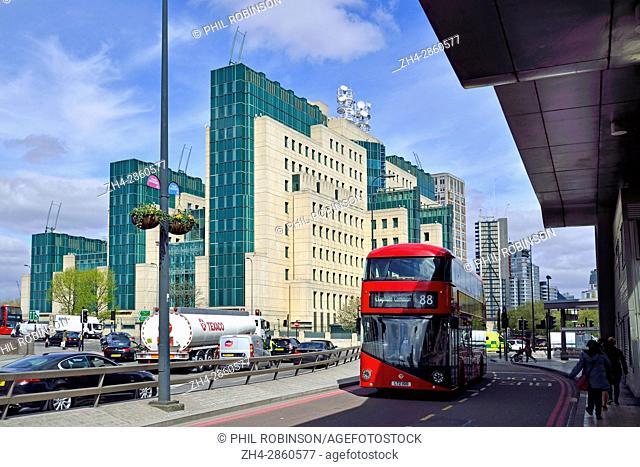 London, England, UK. SIS Building: Headquarters of MI6, the secret service, at 85 Albert Embankment, Vauxhall Cross, on the South Bank