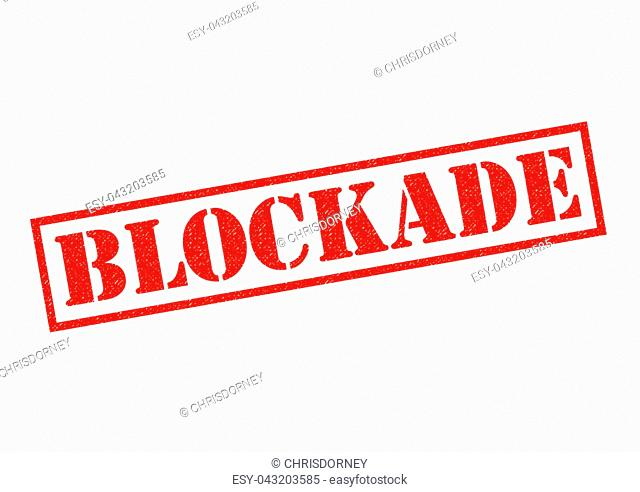 BLOCKADE red rubber Stamp over a white background