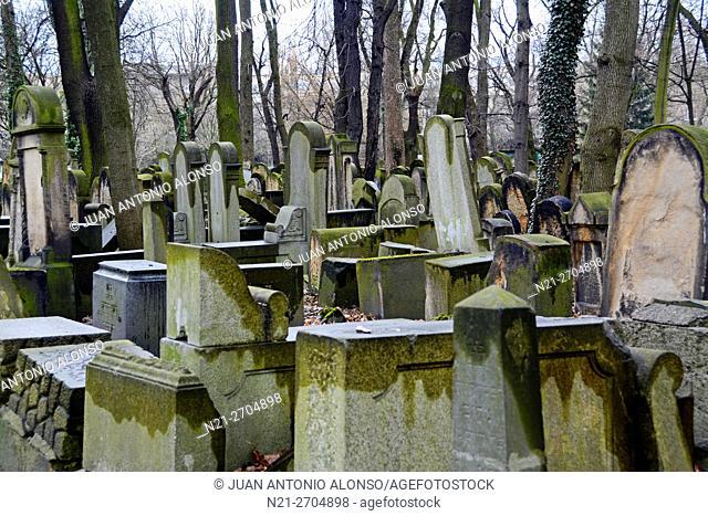 New Jewish Cemetery. Kazimierz neighbourhood, Krakow, Poland, Europe