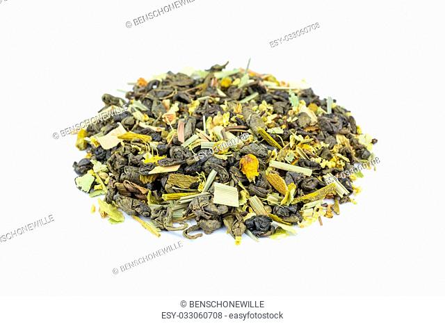 Loose blended biological Sweet angels tea isolated on white background