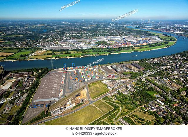 Container loading at River Rhine, container terminal, Logport II, Duisburg, Ruhr district, North Rhine-Westphalia, Germany