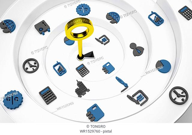 a spiral of icons and a lock in the middle