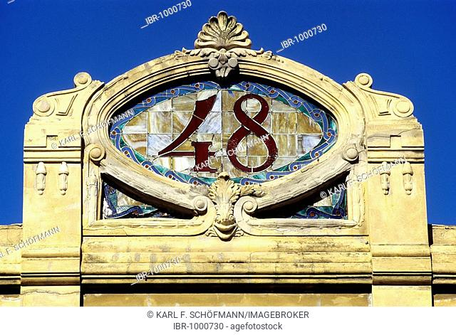 Decorative gable with the house number made of glass tiles, Art Déco style, Viale Regina Margherita, Viareggio, Italian Riviera, Versilia, Tuscany, Italy