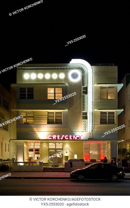Ocean Drive historical district at night, Miami Beach, Florida