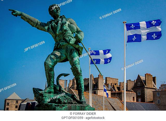 STATUE OF THE CORSAIR FROM SAINT-MALO, ROBERT SURCOUF, ON THE RAMPARTS OF SAINT-MALO HISTORIC CENTER, THE OLD TOWN, QUEBEC FLAG RECALLS THE HISTORIC TIES...