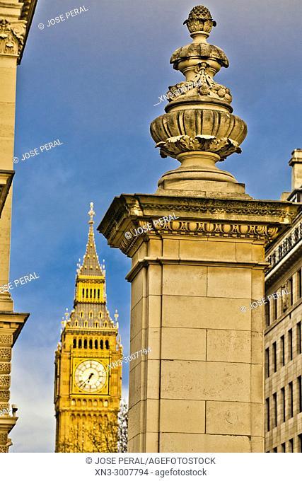 Great George Street, on background Elizabeth Tower, Big Ben, Clock tower, Palace of Westminster, City of Westminster, London, England, UK, United Kingdom