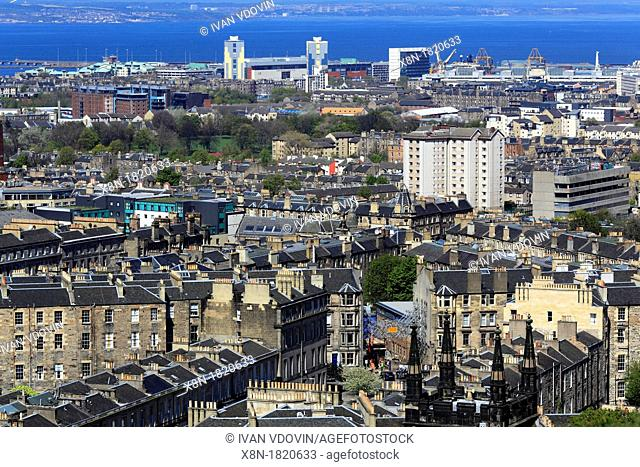 View of city from Calton Hill, Edinburgh, Scotland, UK