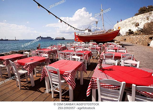 Restaurant by the seaside in town, Mykonos, Cyclades Islands, Greek Islands, Greece, Europe