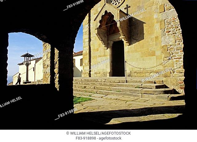 Italy, Tuscany, Fiesole, Monastery of St  Francis, church entrance, person, morning