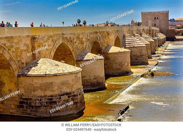 Ancient Roman Bridge Entrance River Guadalquivir Cordoba Spain Roman bridge was built in the 1st Century BC