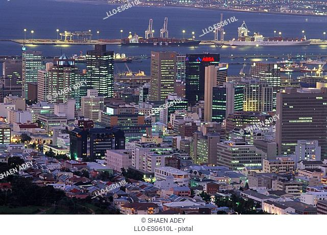 Aerial View of City and Harbour at Dusk  Cape Town, Western Cape Province, South Africa