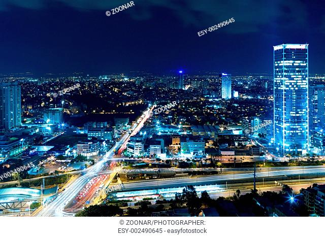 Cityscape Tel Aviv at night