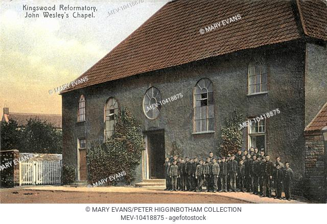 Uniformed inmates stand outside John Wesley's Chapel at the Kingswood Reformatory near Bristol, opened in 1854 and one of the first such institutions