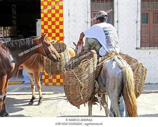 a man riding a horse at bahia streets