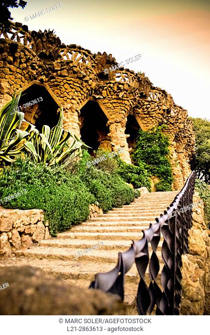 Park Guell designed by architect Antoni Gaudi. Park Güell, Gracia, Barcelona, Catalonia, Spain