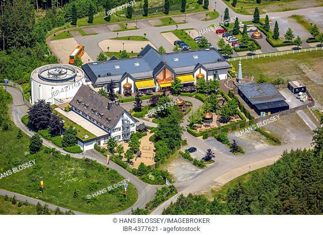 Aerial view, visitor center of the Warsteiner Brewery, Warstein, Sauerland, North Rhine-Westphalia, Germany