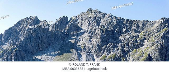Austria, Kleinwalsertal (little Walser valley), from the left side the Oberstdorfer Hammerspitze (mountain), Hochgehrenspitze (mountain) and the Walser...