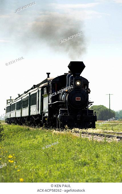 Steam number 3 leads the Prairie Dog Central Railway north of Winnipeg, Manitoba, Canada