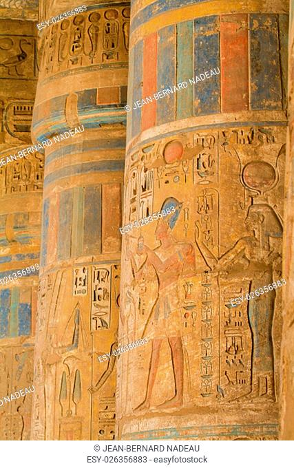 Egypt, Upper Egypt, Nile Valley, Gaugue bank of Thebes, about Luxor, Medinet Habu Temple classified World Heritage
