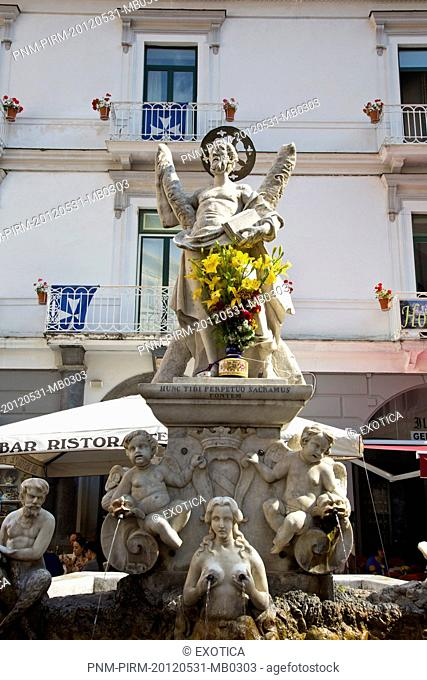 Statues on a fountain, Piazza Duomo, Amalfi, Province of Salerno, Campania, Italy