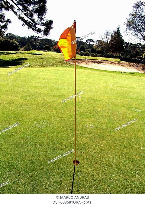 golf field flag on a hole
