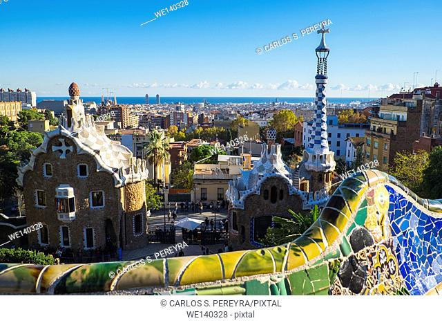 Panoramic of Barcelona from Park Guell. Garden complex with architectural elements situated on the hill of el Carmel. Designed by the Catalan architect Antoni...