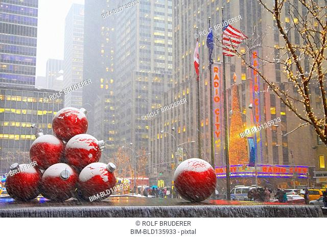 Christmas decorations outside Radio City Music Hall, New York City, New York, United States