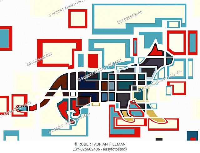 Abstract colorful editable vector design of a domestic cat
