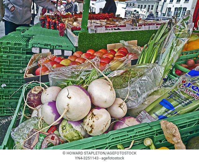 Produce at an outdoor market in Bergen, Norway