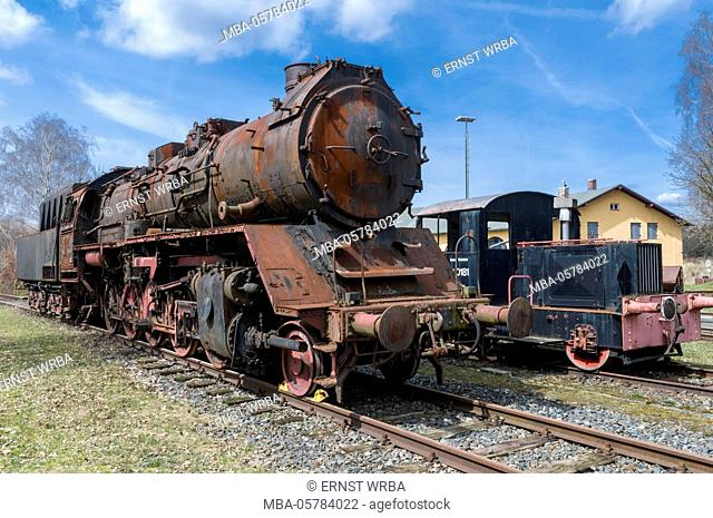 Goods train locomotive class 51, ruin, scrap, railway museum engine shed, Selb, Fichtelgebirge, Upper Franconia, Franconia, Bavaria, Germany