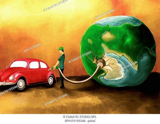 Illustration of man refuelling car
