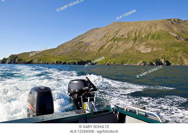 Camp at Round Island as viewed from boat with 2 outboard motors, Walrus Islands State Game Sanctuary, Round Island, Bristol Bay, Southwest Alaska, USA