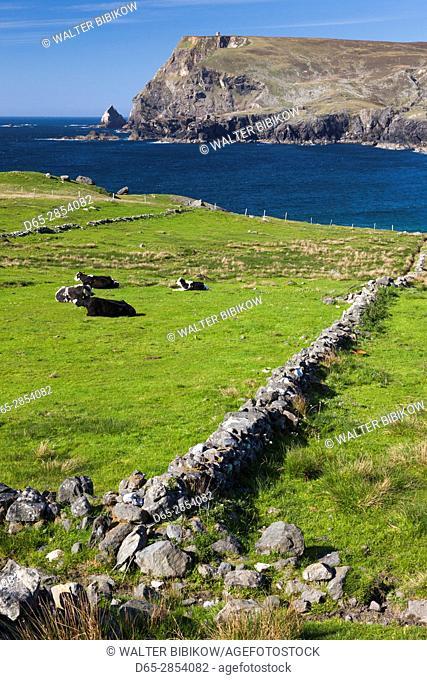 Ireland, County Donegal, Glencolumbkille, view of Glen Head