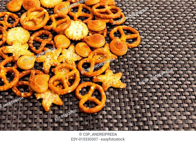 Pretzels and other snacks on table