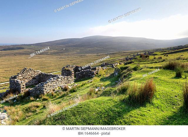 Deserted village of Slievemore, Achill Island, County Mayo, Connacht province, Republic of Ireland, Europe