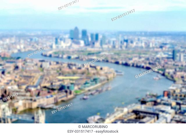 Defocused background with aerial view of London, UK. Intentionally blurred post production for bokeh effect