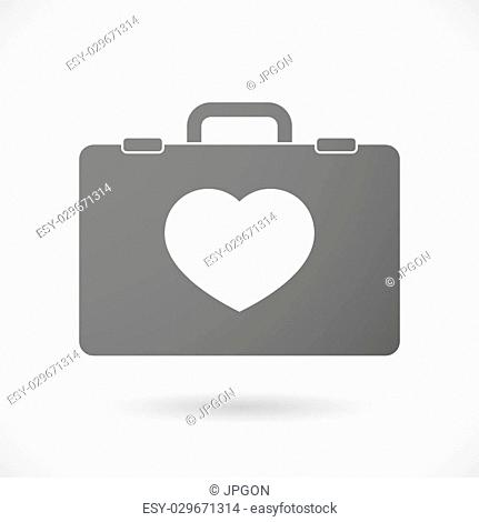 Illustration of an isolated briefcase icon with a heart