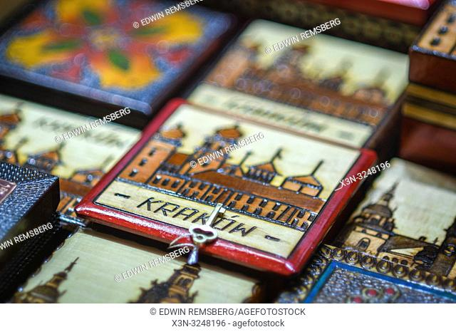 Detail look at decorative wooden souvenir box, Krak—w, Lesser Poland Voivodeship, Poland