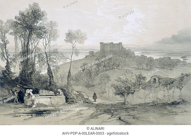 Views in Rome and its environs': Castle and town of Bracciano on the lake of the same name (1841) by Alinari, Fratelli