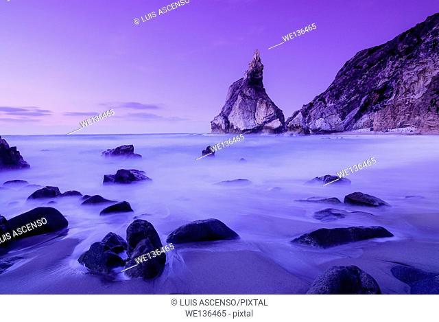 Ursa beach, Roca Cape, Sintra, Portugal, beach, dusk, long exposure
