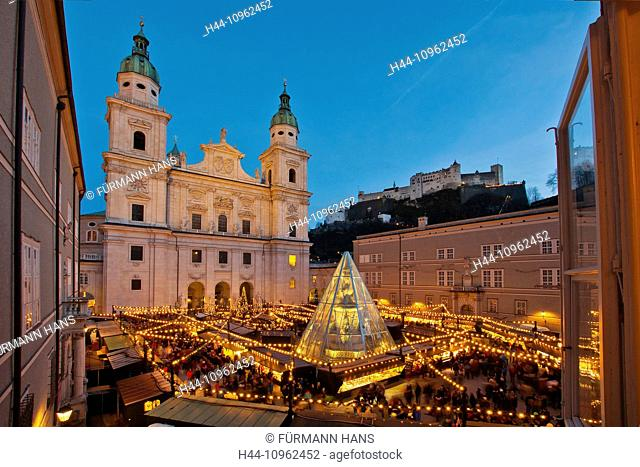Austria, Salzburg, town, city, Old Town, art, skill, culture, Christmas, Christmas fair, market, Christmas tree, Christmas tree, lights, illumination