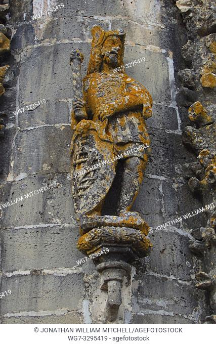 PORTUGAL Tomar -- 2015 -- Statue of a knight on the exterior of the church inside the Convento de Cristo - the one-time headquarters of the Knights Templar in...
