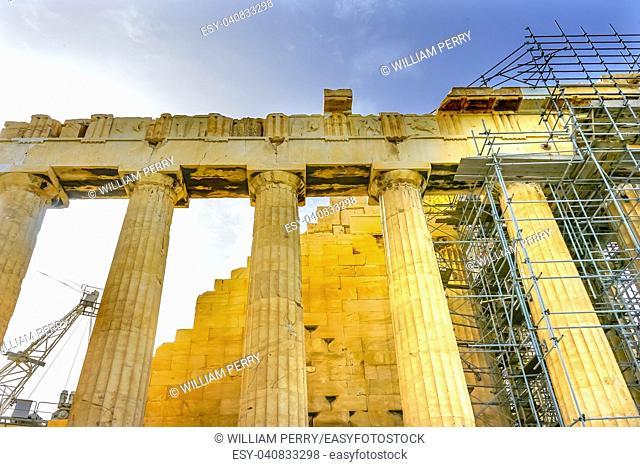 Reconstruction Scafflolding Top Parthenon Acropolis Athens Greece. Temple to Athena on Acropolis. Created 438 BC