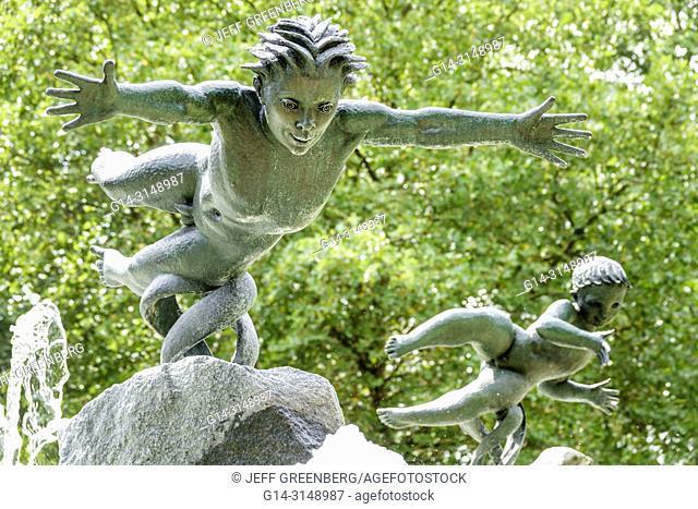 United Kingdom Great Britain England, London, Hyde Park, historic Royal Park, Joy of Life Fountain, Huxley-Jones, bronze sculpture