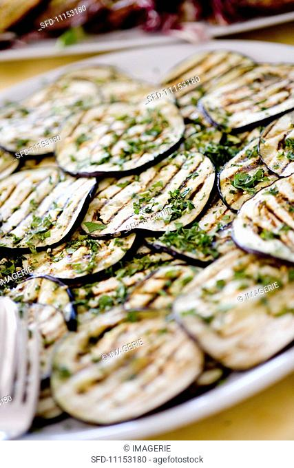 Melanzane grigliate (chargrilled aubergine slices, Italy)