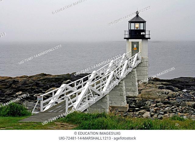 Marshall Point Lighthouse navigation aid Maine coast Port Clyde New England USA fishing village Atlantic Ocean