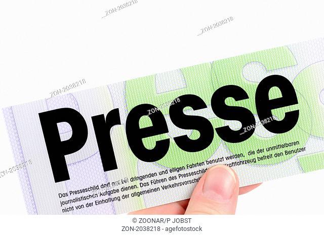 Amtliches deutsches Presseschild für das Jahr 2009 German press sign for 2009